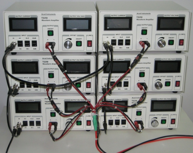Six TS250 AC magnetic coil driver connected in parallel to obtain strong electromagnetic field.