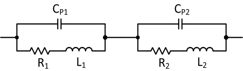 Circuit model of a Helmholtz coil pair for producing high-frequency AC magnetic field.