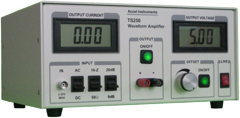 Waveform amplifier is high current and high voltage for signal and function generators.