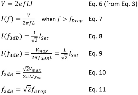 Coil cutoff frequency calculation using equation 6 to 11.
