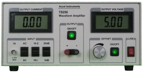 High-voltage function generator amplifier is used to boost signal generator voltages.