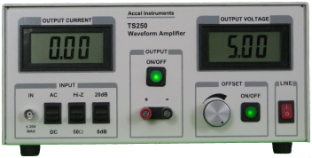 Waveform amplifier amplifies signal generator output for either higher current, voltage, or power.